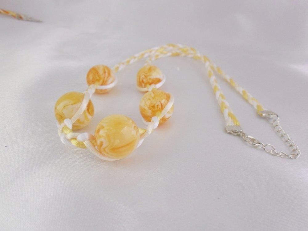 "Collier sautoir ARGENT ""  Perles jaune """