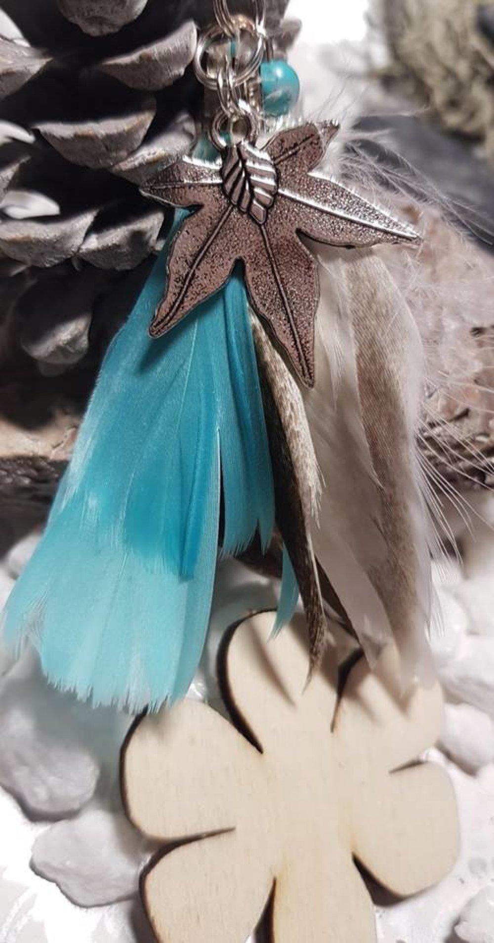 porte clé bijoux de sac turquoise