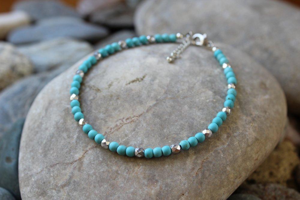 bracelet cheville pierre