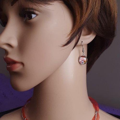 Boucles d'oreilles cabochon coccinelle