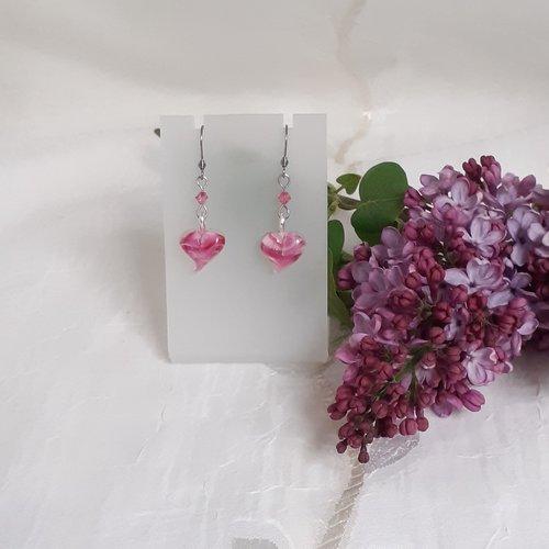 Boucles d'oreilles coeur rose