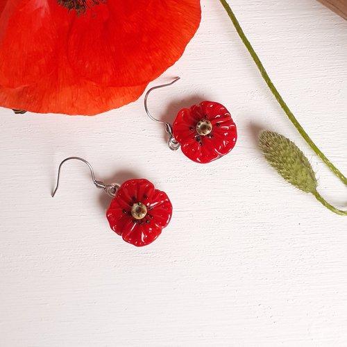 Boucles d'oreilles fleur de coquelicot