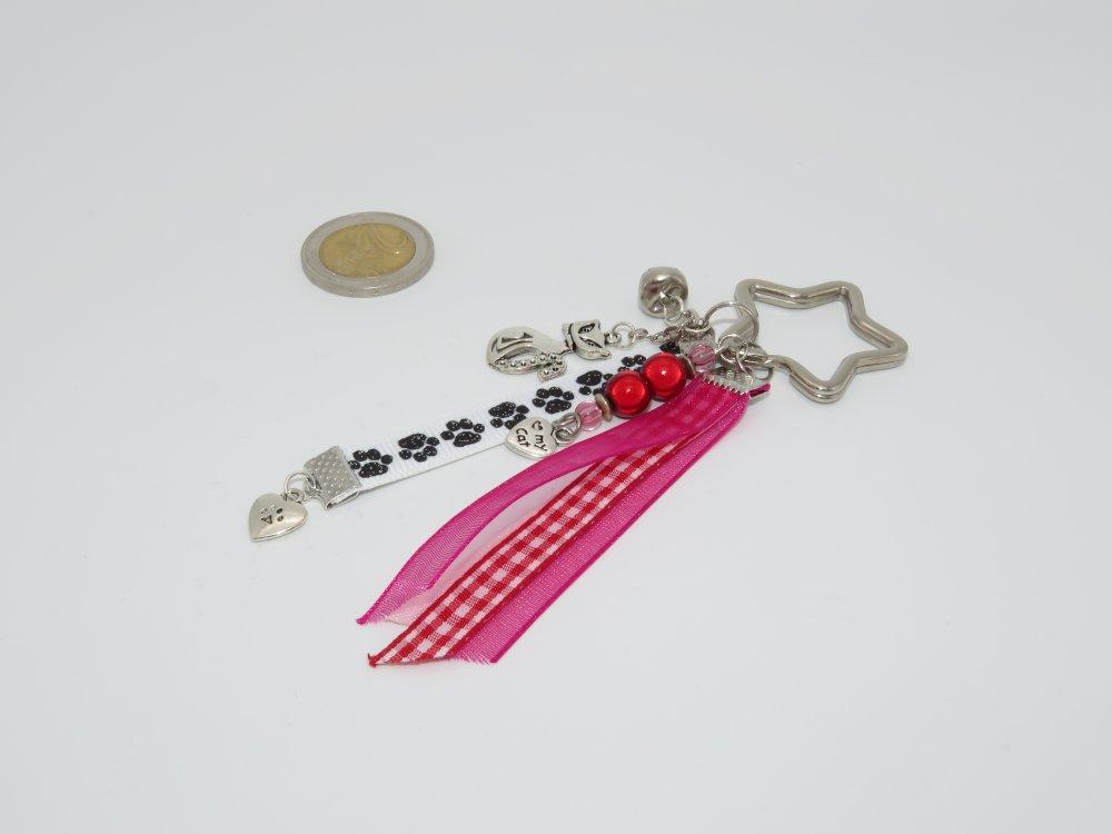 Porte-clés étoile chat rose