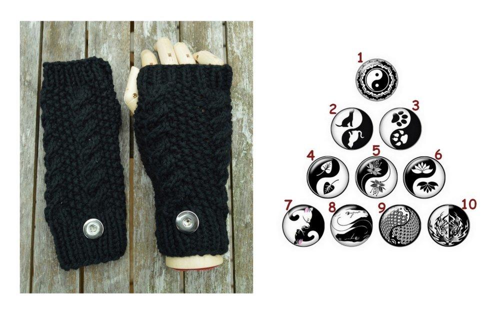 mitaines noires  , 18cm, laine , tricot , fait mains, boutons pressions au choix ying yang blanc et noir