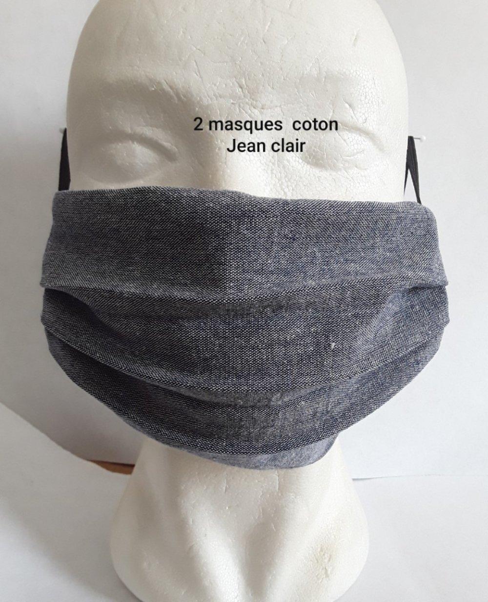 Masque de visage, faciale,, filtrant, poche, pour filtre a café, réutilisable, coton jeans clair, lavable 40 degrés, lot 2 masques