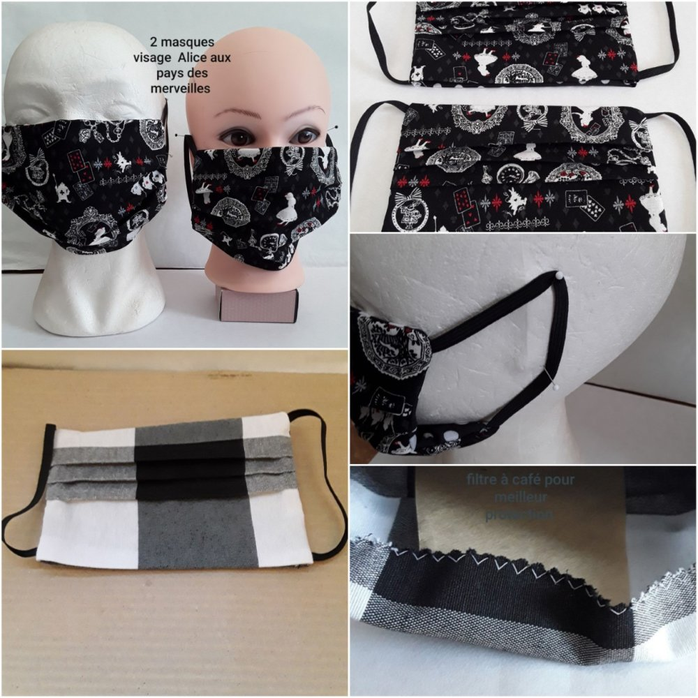 Masque visage,, protection, alice, , avec poche filtre, protecteur pour visage adulte en coton - lavable, réutilisable, 2 piéces