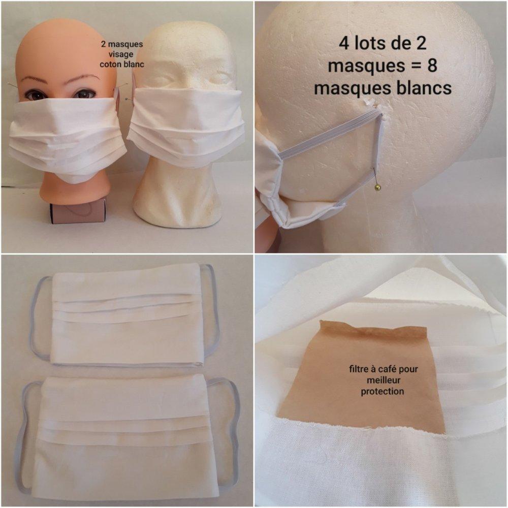 Masque visage,, protection, BLANC, avec poche filtre, protecteur pour visage adulte en coton - lavable, réutilisable, (lot de 4 masques )
