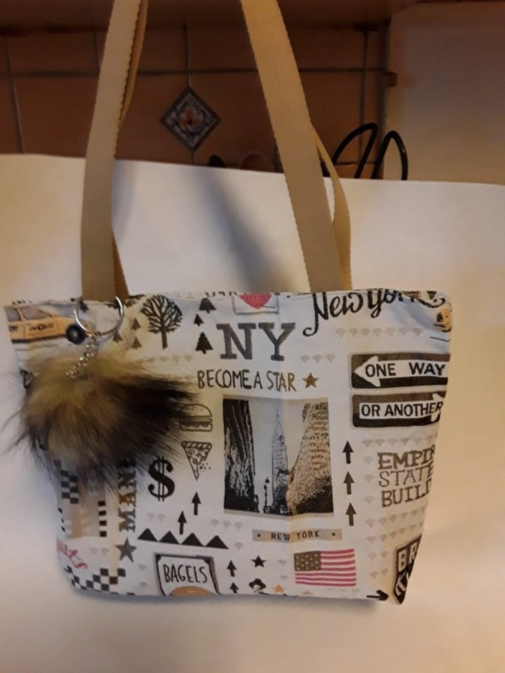 sac a mains , couture, NY, tissu coton, doublé et tirette, pièce unique