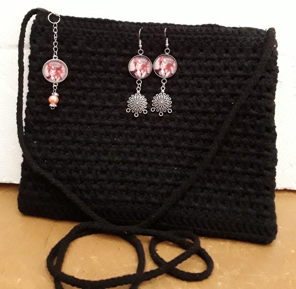 sac bandoulière , coton noir, doubler et tirette , bijoux de sac, et boucles d oreilles mylène
