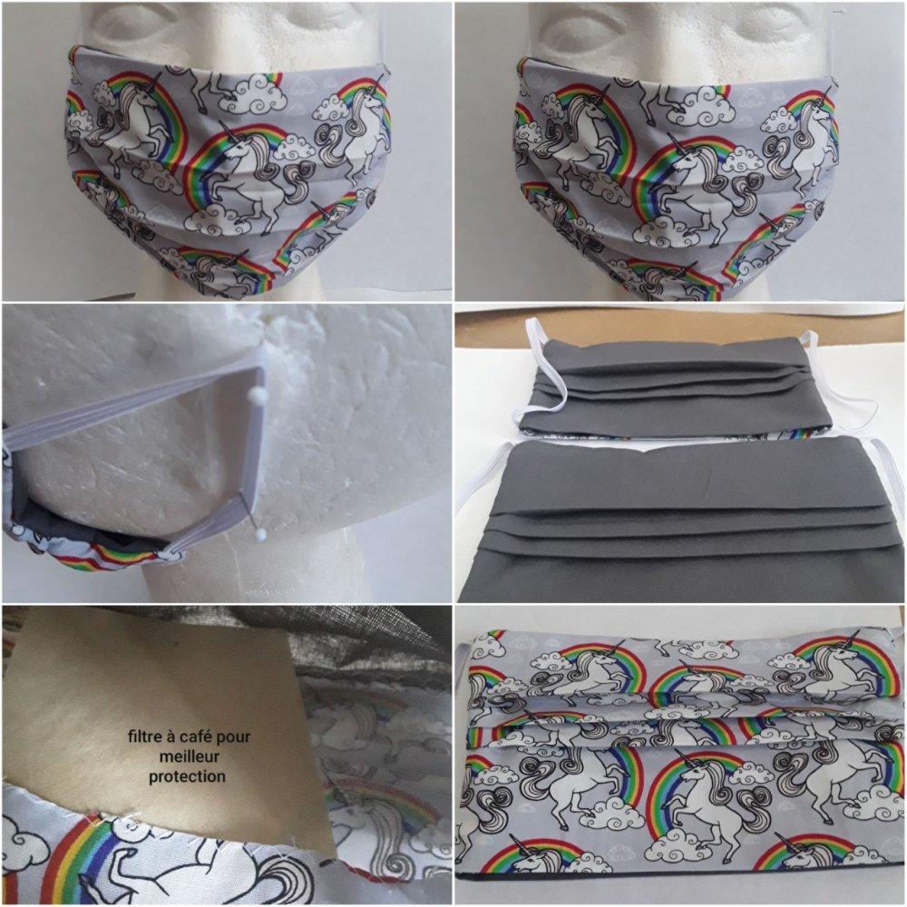 Masque de protection ,licornes, visage, faciale,, filtrant, poche, pour filtre , réutilisable, coton, lavable 40 degrés, lot 2 masques