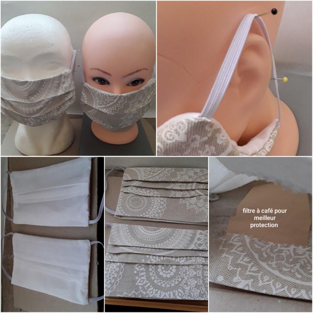 Masque de protection, beige, mandala, , faciale,, filtrant, poche, pour filtre , réutilisable, coton, lavable 40 degrés, lot 2 masqu