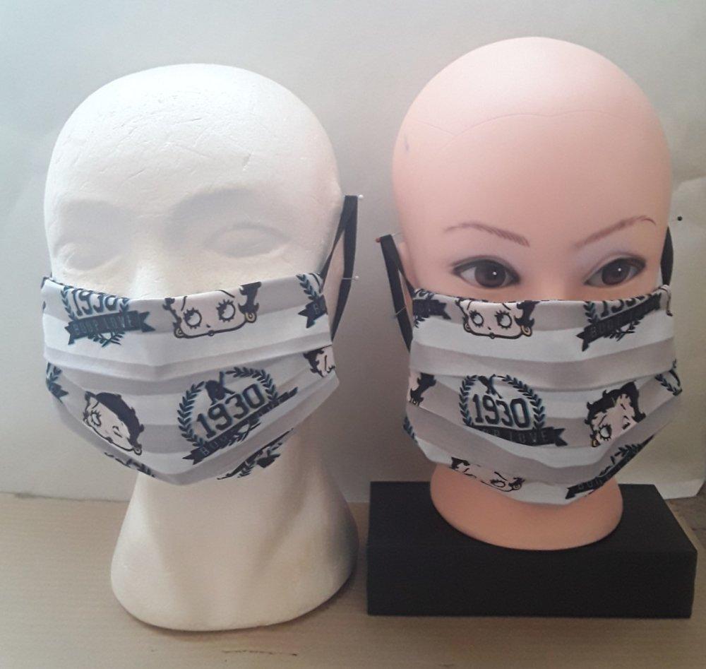 Masque de protection, coton, betty boop, visage, faciale,, filtrant, poche, , réutilisable, coton, lavable 40 degrés, lot 2 masques