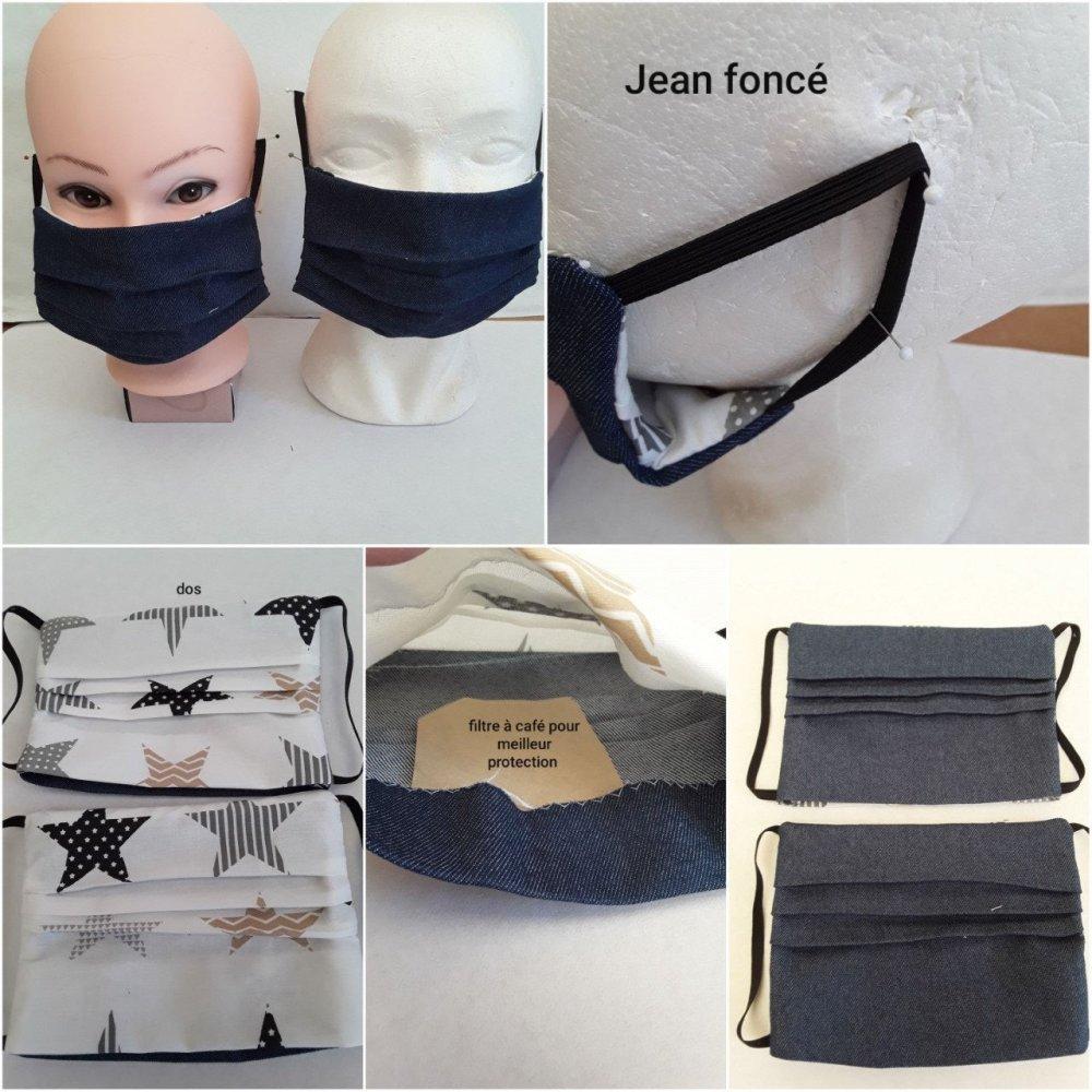 lots 3 x 2 masques , jean clair , jean foncé , beige , Masque de visage, filtrant, poche, pour filtre a café, réutilisable, cot