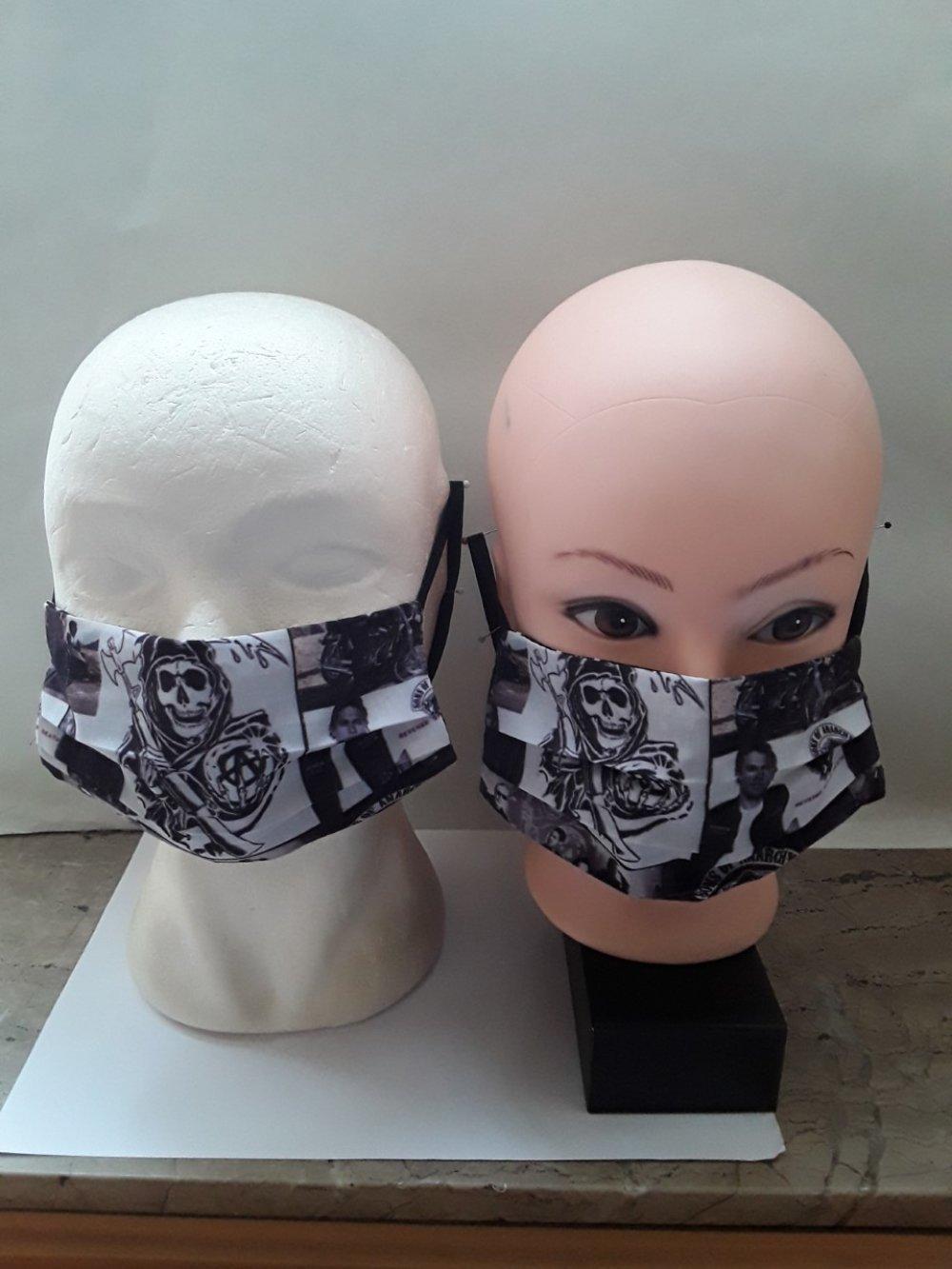 Masque de protection, coton, sons of anarchy, visage, faciale,, filtrant, poche, , réutilisable, coton, lavable 40 degrés, lot 2 masques
