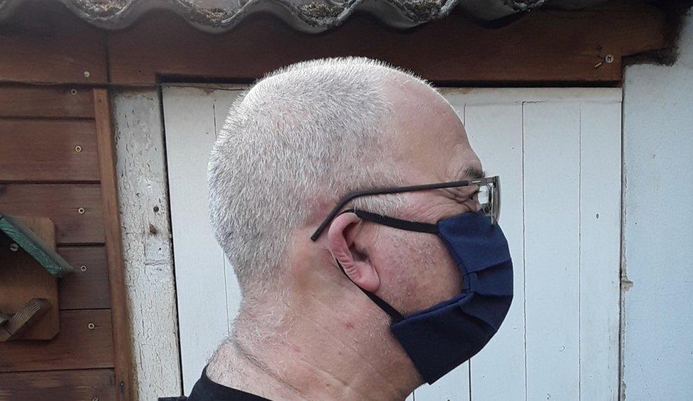 Masque avec poche filtre, protection, pour visage adulte en coton - lavable, réutilisable, coton,2 masques blancs et 2  masques navy