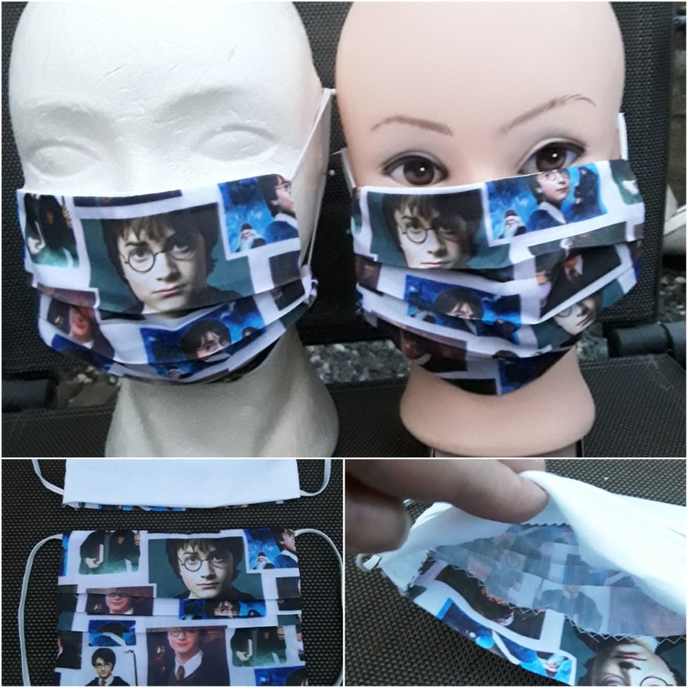 masque visage , harry potter, coton, 3 plis, filtre, protection,réutilisable, lavable, (lot de 2 masques