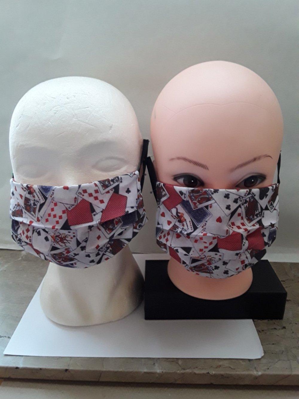 Masque de protection, AS DE PIC ; visage, faciale,, filtrant, poche, , réutilisable, coton coloré, lavable 40 degrés, lot 2 masques