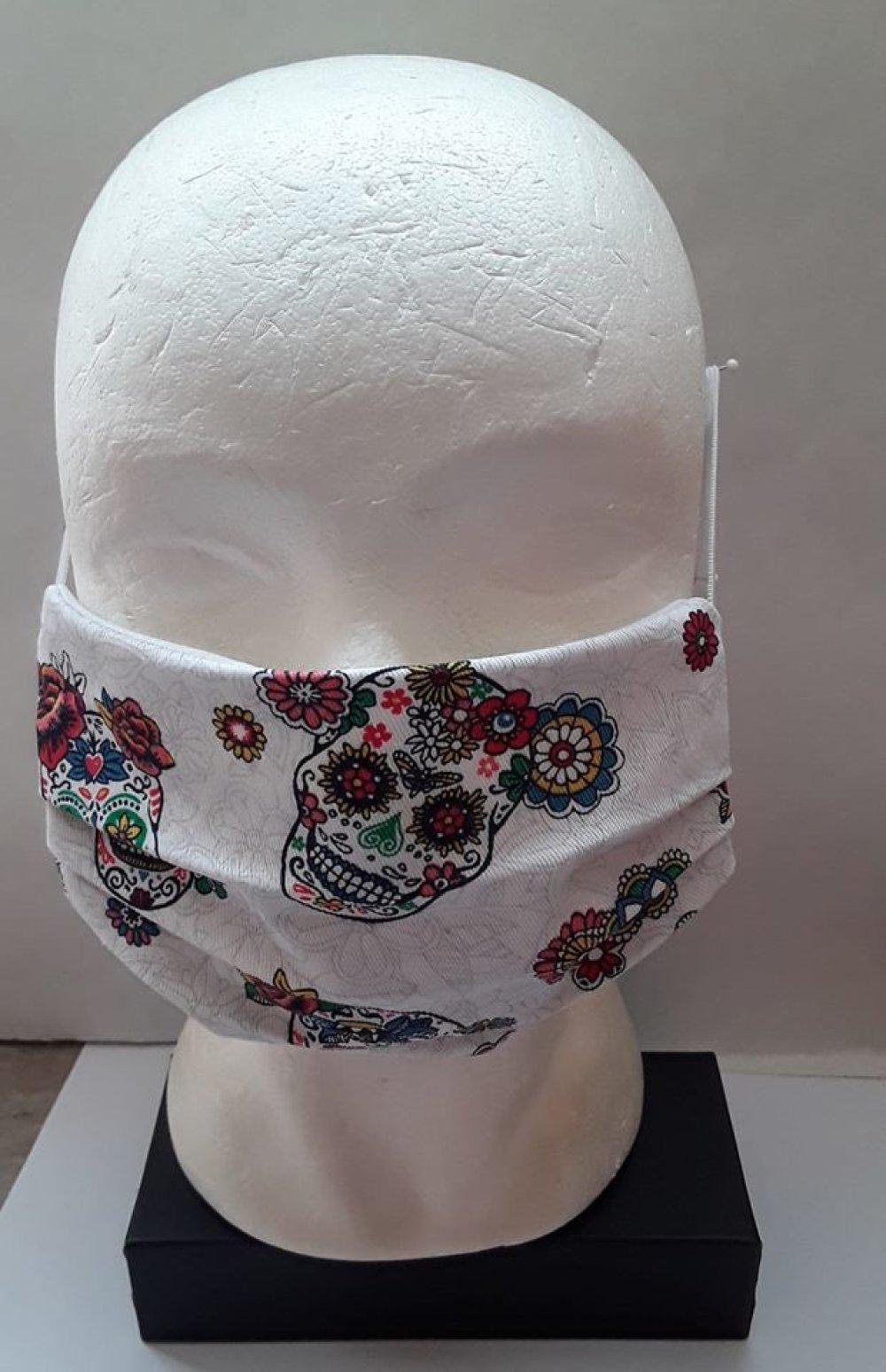 masque visage,CRANES EN FLEURS , de bouche,  protecteur, lavable, protection , coton blanc, lot 2 masques