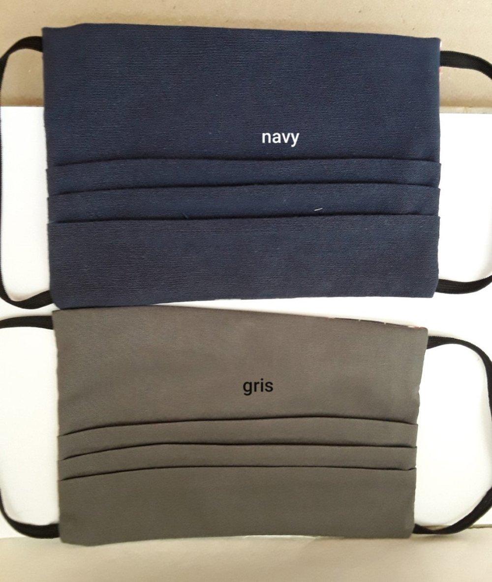 Masque de visage, plumes colorées, 1 masque NAVY ET 1 masque GRIS , facial filtrant, poche, filtre , réutilisable, coton , lavable ,