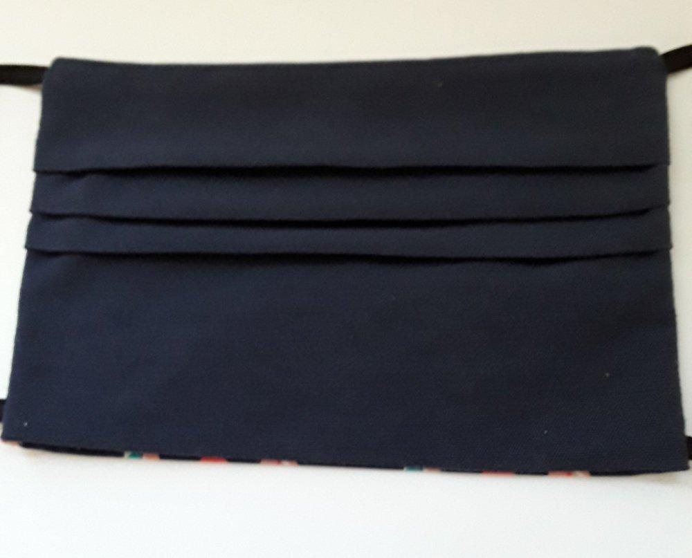 Masque visage, protection,PLUMES COLOREES  avec poche filtre, adulte en coton - lavable, réutilisable, ( lot 2 masques,) coton navy