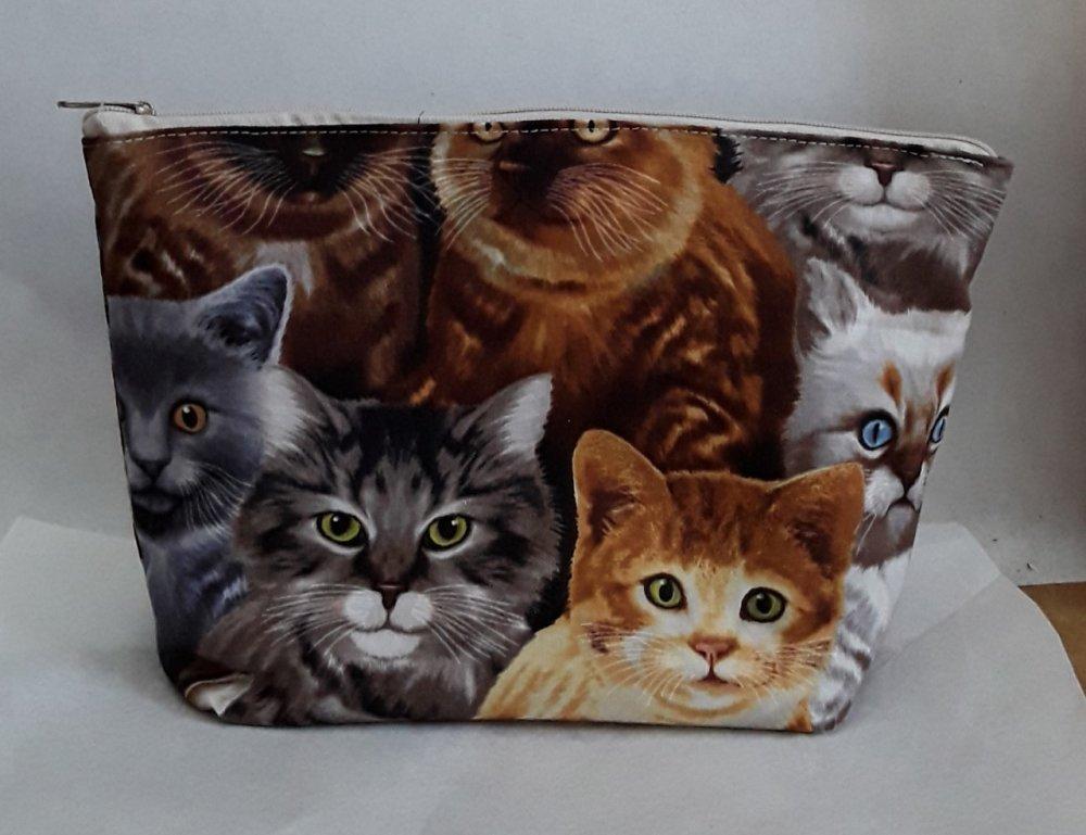 trousse, pochette, chats, gris, bruns, 25/15/5 cm, doublée, tirette
