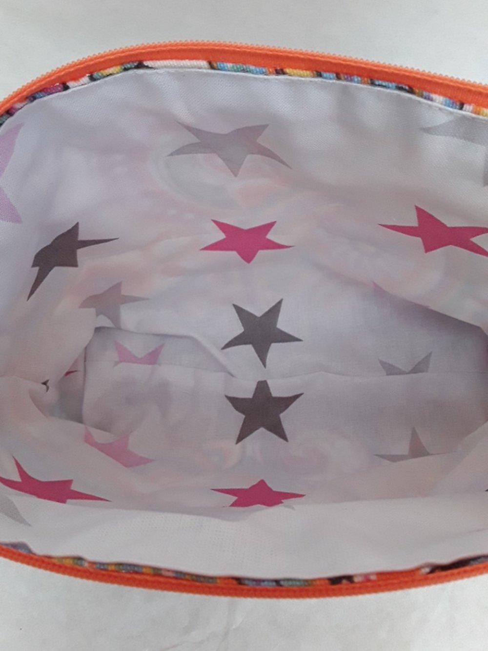 trousse, pochette, motif cachemires, colorés, 25/16/7cm, coton, doublée étoiles , tirette,  dentelle orange