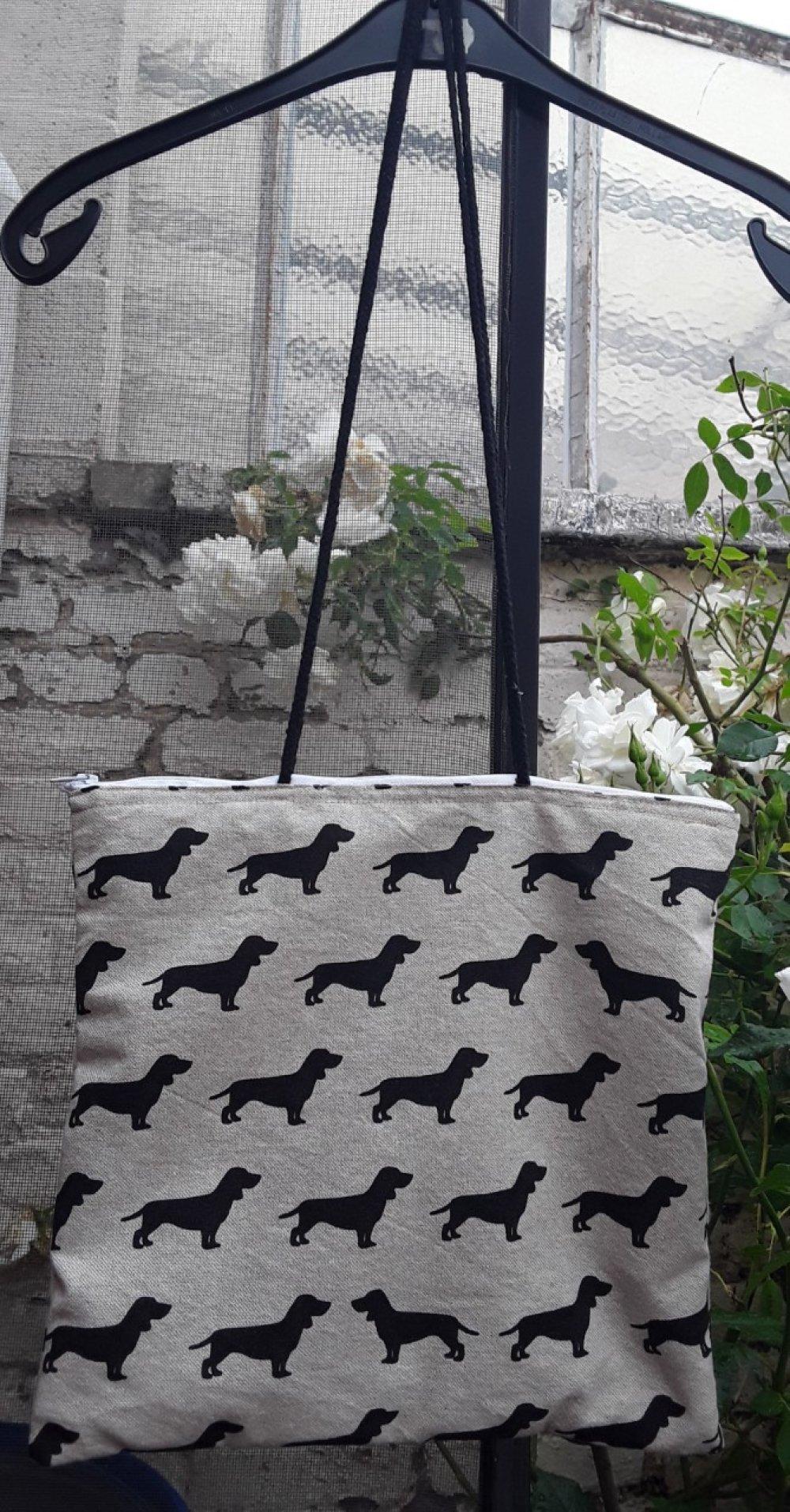 sac coton, teckels noirs, chiens, coton beige, anses, noires, tirette, doublée, poche, 29/29cm