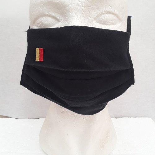 Masque , visage , protection, 3 plis , poche, drapeau,  belge, belgique, coton, noir, broder, élastique, lavable, réutilisable
