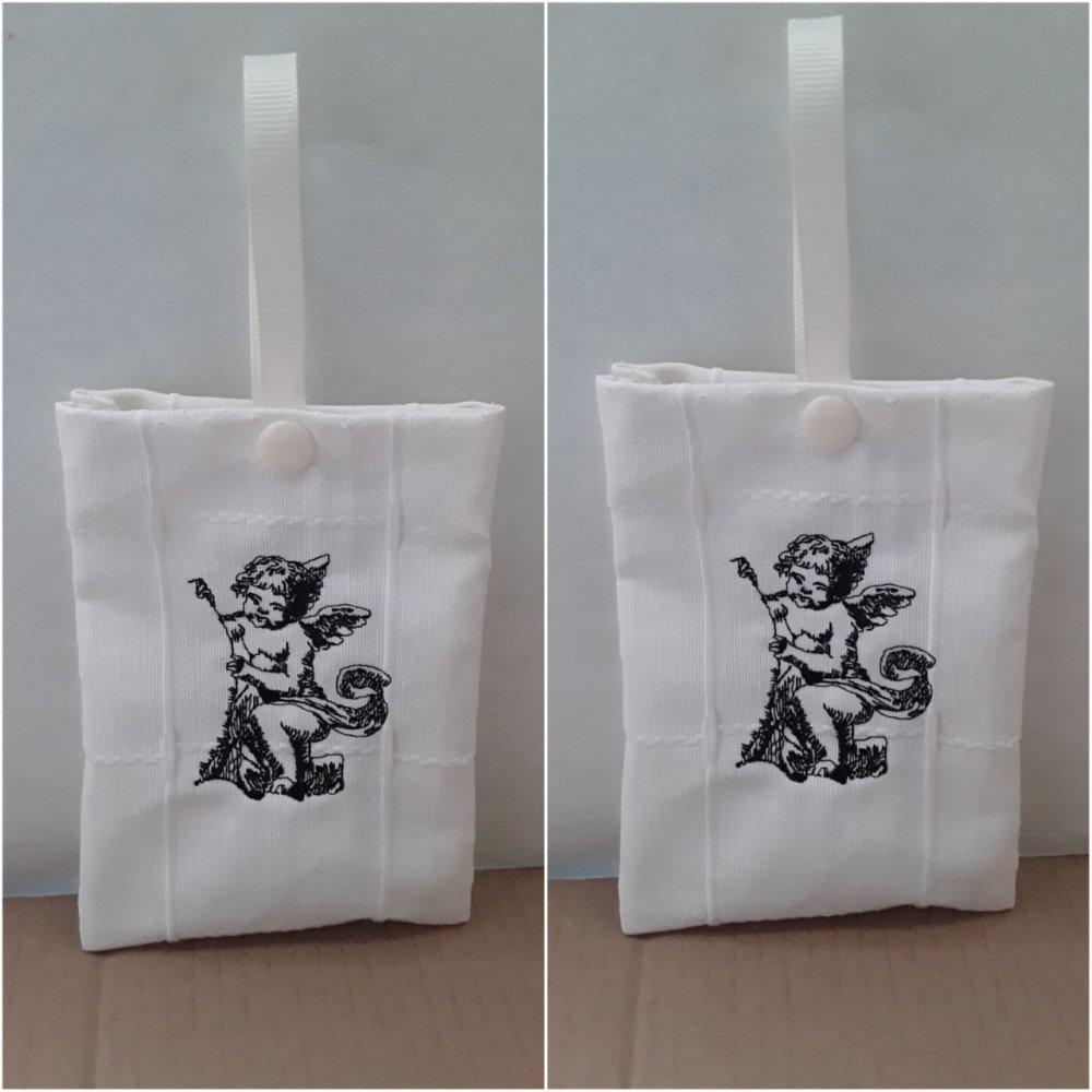 lot 2 pochettes, sacs  pour lavandes, anges  brodés , recto , verso, 14H / 10L cm, coton,