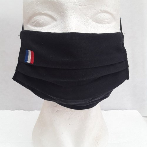 Masque , visage , protection, 3 plis , poche, drapeau, france , francais , coton, noir, broder, élastique, lavable, réutilisable