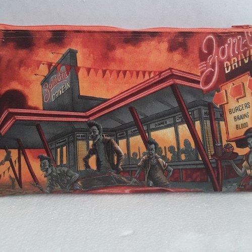 Trousse, pochette, étui, coton, imprimé de chaque coté, zombie , drive, doublure orange a pois, tirette , 27 l/ 16 h cm