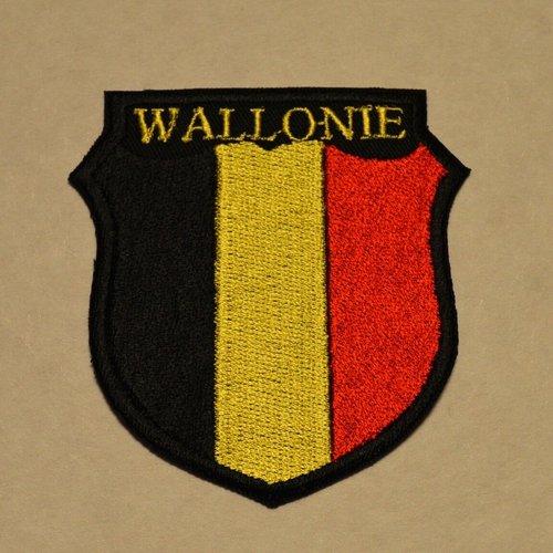 Patch , écusson, thermocollant;; coton, wallonie , 7.5 cm