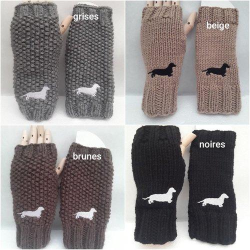 Mitaines , gants , ouverture pouces , chausse-pouls , 20 cm ,au choix, envoyer le no lors de la commande , teckels , chiens ,broder