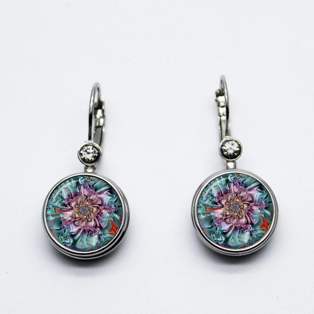 boucles d oreilles boutons pressions , fleur , fluos , ying yang