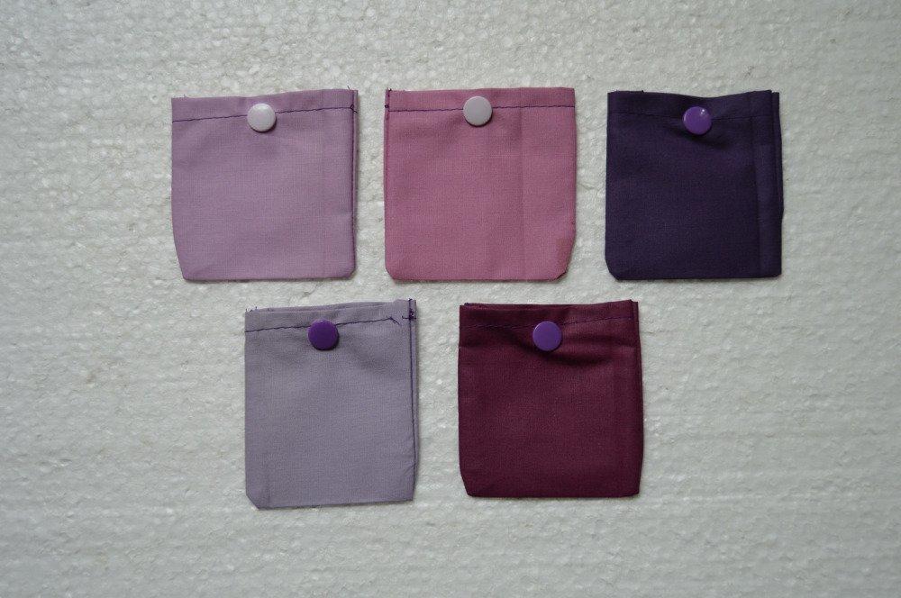 12 pochettes cadeaux , pochettes bijoux coton, mauve, beige