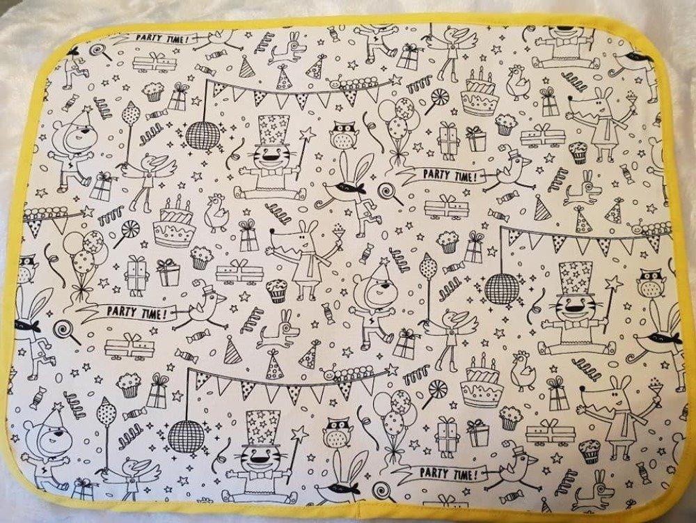 """Set de table enfant """"à la fête"""" en tissu à colorier lavable"""