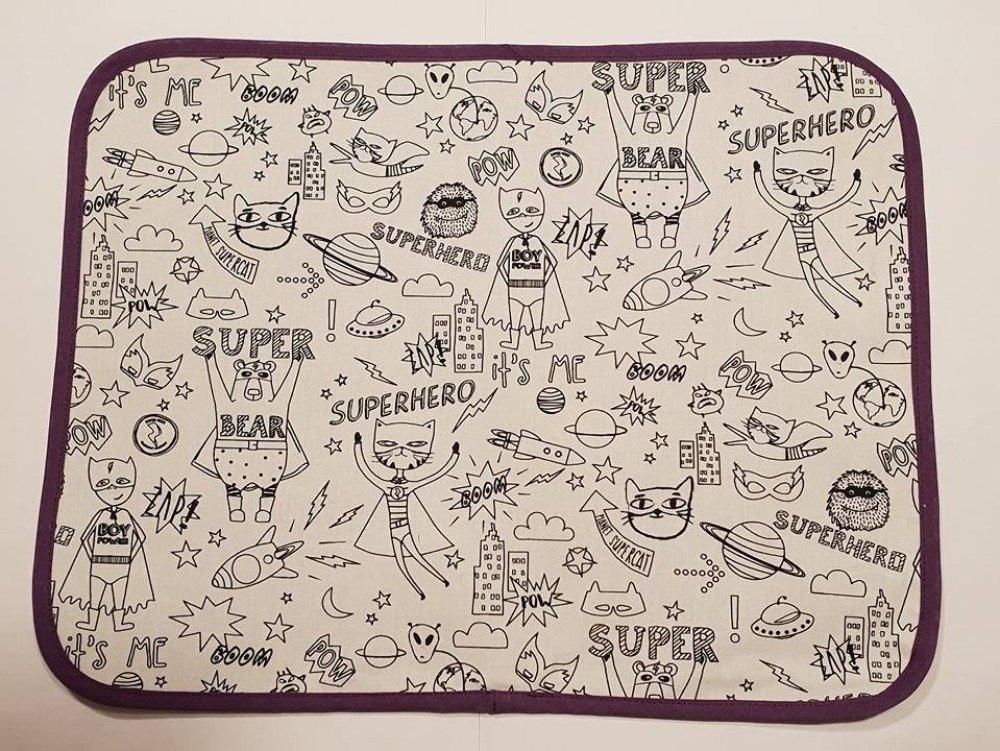 """Set de table enfant """"Super héros"""" en tissu à colorier lavable"""