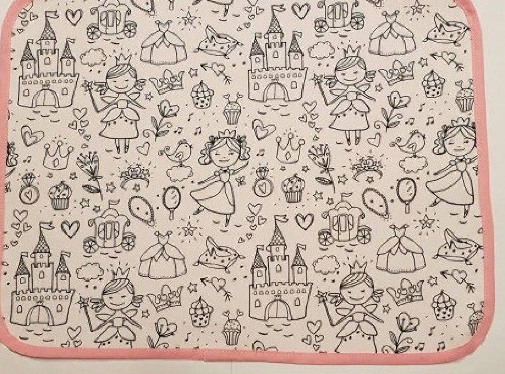 """Set de table enfant """"Princesse""""  en tissu à colorier lavable"""