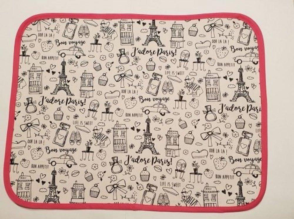 """Set de table enfant """"Paris"""" en tissu à colorier lavable"""