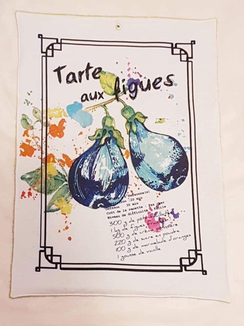 "Torchon, essuies mains, essuie vaisselle ""tarte aux figues verte"""