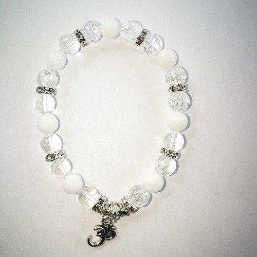 Bracelet en jade blanc et cristal de roche blanc craquelé