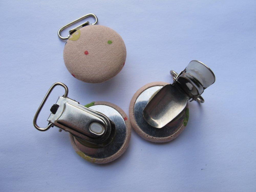 Clip pince attache tétine en tissu et métal modèle point et champignon