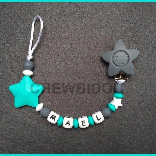 Attache t/étine//attache sucette personnalis/ée Gar/çon 100/% silicone Couronne et /étoile ou clip et d/écoration au choix