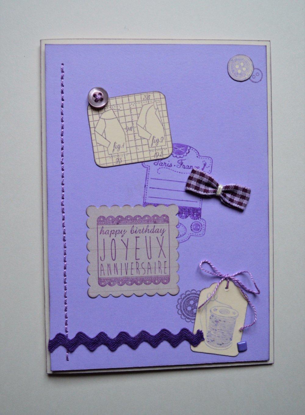 carte d'anniversaire theme couture