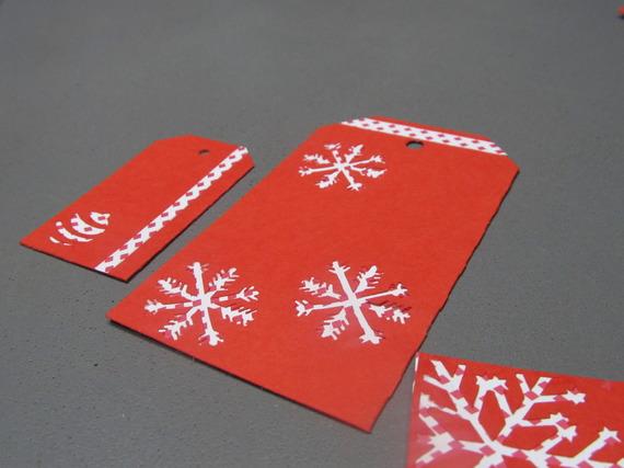 Lot de 6 étiquettes rouges pour cadeaux de Noël