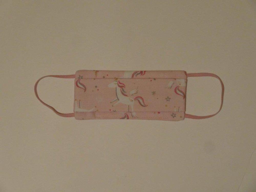 Masque en tissu lavable enfant fille licornes roses; flitration maximale
