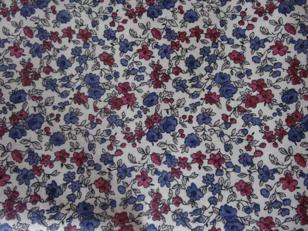 Masque de protection adulte liberty fleurs bleues-bordeaux