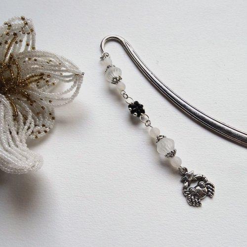 Marque-page bijou argenté et blanc zodiaque cancer perles tchèques et agate veine de dragon / idée cadeau femme, anniversaire