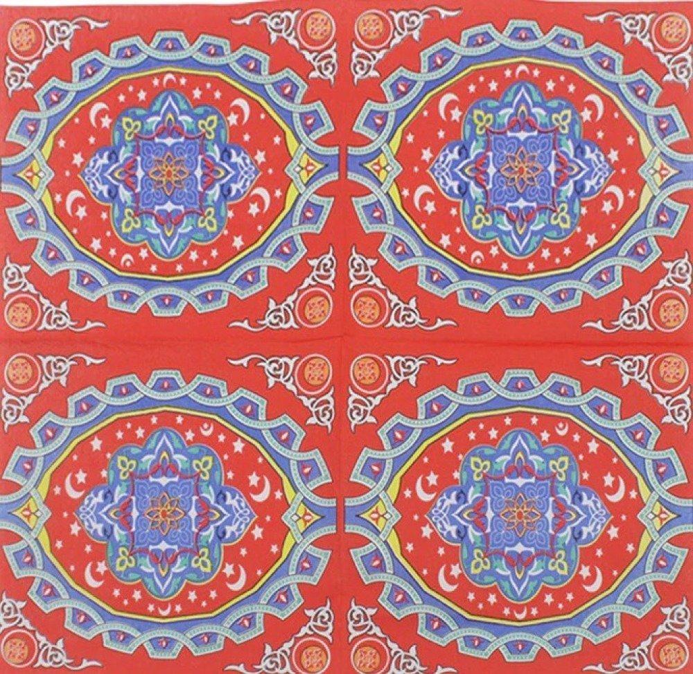 Belle serviette en papier serviettage multicolore coins arabesques collage 33 cm