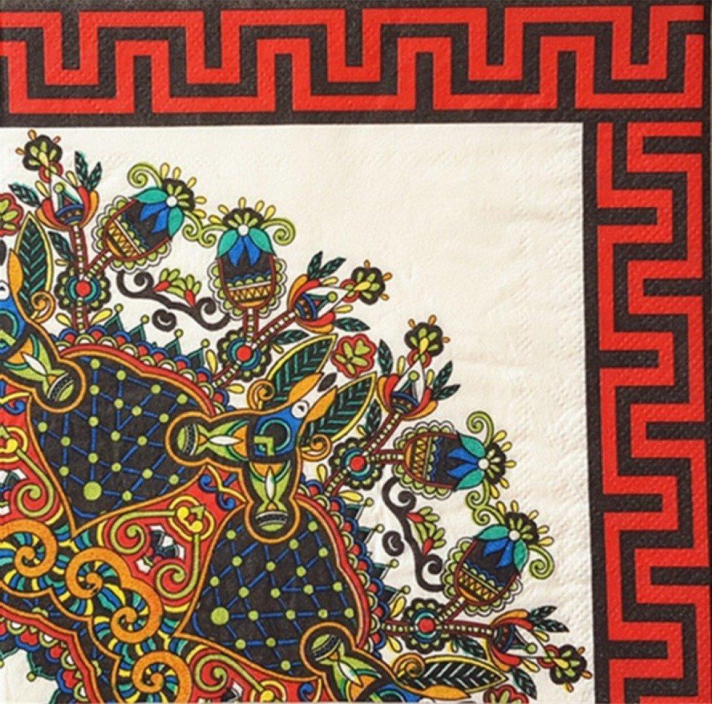 Belle serviette en papier serviettage multicolore asiatique coins arabesques collage 33 cm
